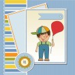 Birthday greeting card with little boy — Stock Vector
