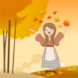 Stockvector : Autumn girl