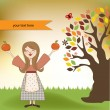 Vetorial Stock : Autumn girl with apples and pumpkins