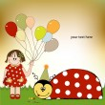 Happy birthday card with ladybug — Stock Vector #39753459