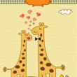 Funny giraffe couple in love — Stock Vector