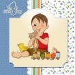 Stock Vector: Little boy are playing with his toys