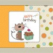 Birthday greeting card with a cat waiting to eat a cake — Stock Vector