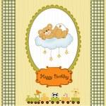 Baby shower card with sleepy teddy bear — Stock Vector #39754203