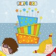 Kids celebrating birthday party — Stock Vector #39754343