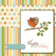 Stock Vector: Birthday greeting card with funny little bird