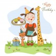 Happy Birthday card with funny girl, animals and cupcakes — Stock Vector #39754461