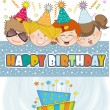 Kids celebrating birthday party — Stock Vector #39754467