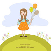 Funny girl with balloon, birthday greeting card — Stock Vector