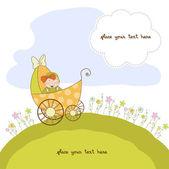 Baby meisje aankondiging kaart — Stockvector