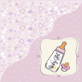 New baby girl announcement card with milk bottle and pacifier — Stock Vector