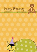 Happy birthday card with ladybug — Stock Vector