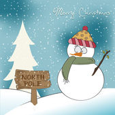 Christmas greeting card with funny snowman — Stock Vector