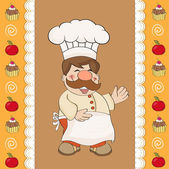 Background with Smiling Chef and Menu — Stock Vector