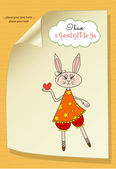 Cute little doe who gives her heart. romantic and funny love gre — Vector de stock