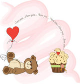 Valentine's Day card with teddy bear — Stok Vektör