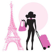 Woman with suitcase in Paris — Stock Vector