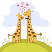 Couple funny girafe amoureuse — Vecteur