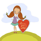 Pretty young girl in love — Stock Vector