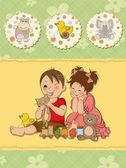 Meisje en jongen speelt met speelgoed — Stockvector