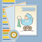 Baby boy announcement card with baby and pram — Stock Vector