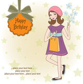 Pretty girl with gift and flowers. birthday card — Stock Vector