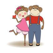Monkeys couple in love — Stock Vector