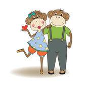 Monkeys couple in love — ストックベクタ
