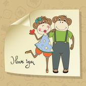 Maymun çift aşık — Stok Vektör