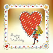 Happy birthday card with a girl — Stock Vector
