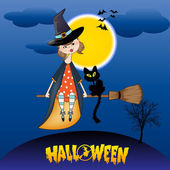 Halloween witch background — Stock Vector