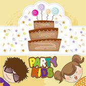 Kids celebrating birthday party — Vettoriale Stock