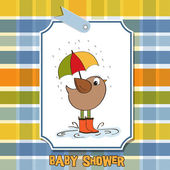 Baby shower card with bird — Stock Vector