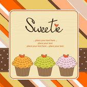 Cupcakes de feliz cumpleaños — Vector de stock