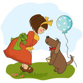 Girl and dog — Stock Vector