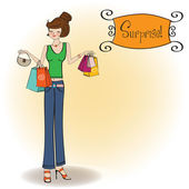 Pretty young lady at shopping — Stock Vector