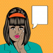 Cute retro black woman in comics style — Stok fotoğraf