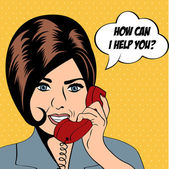 Woman chatting on the phone, pop art illustration — Zdjęcie stockowe