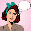 Cute retro woman in comics style — Stockfoto #40248337