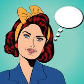 Cute retro woman in comics style — Stock Photo