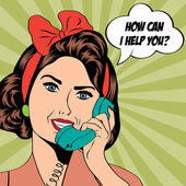 Woman chatting on the phone, pop art illustration — Stock Photo