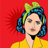 Bonita mulher retro em estilo de quadrinhos — Fotografia Stock