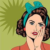 Cute retro woman in comics style — Stockfoto