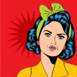 Cute retro woman in comics style — Stock Photo