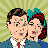 Man and woman love couple in popart comic style — Vector de stock
