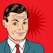 Smiling businessman, pop art style illustration — Stock Vector