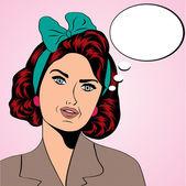 милый ретро женщина в стиле комиксов — Cтоковый вектор