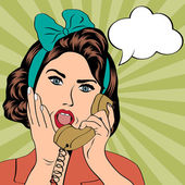 Woman chatting on the phone, pop art illustration — Stockvector