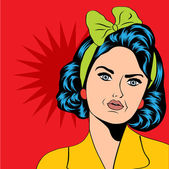 Cute retro woman in comics style — Vecteur