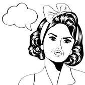 Cute retro woman in comics style — Stock Vector
